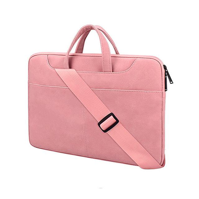 Unisex PU Laptop Bag Zipper Solid Color Daily Office & Career Handbags Dark Grey Pink Light Grey