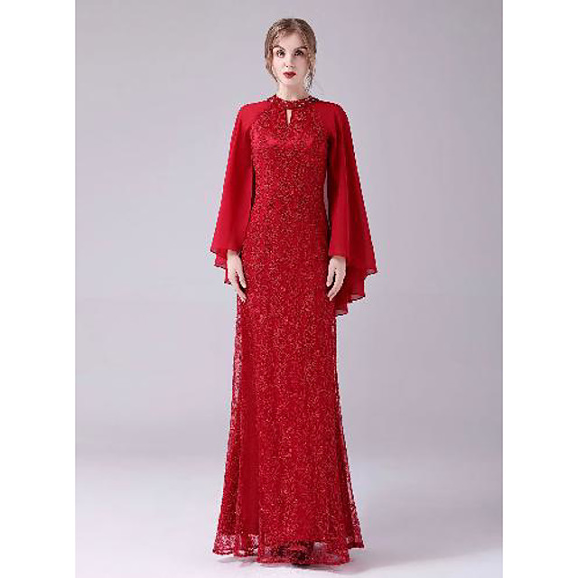 A-Line Celebrity Style Elegant Wedding Guest Formal Evening Dress Halter Neck Long Sleeve Floor Length Lace with Beading 2021
