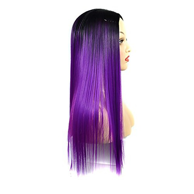 natural wig synthetic wig auburn wig women fashion lady long straight neat bang hair cosplay party wig(f)