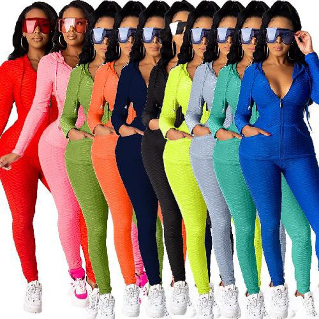 Women's 2 Piece Full Zip Tracksuit Yoga Suit Athleisure Winter Long Sleeve High Neck Breathable Gym Workout Running Jogging Sportswear Skinny Solid Colored Jacket fluorescent yellow Teal Black Light