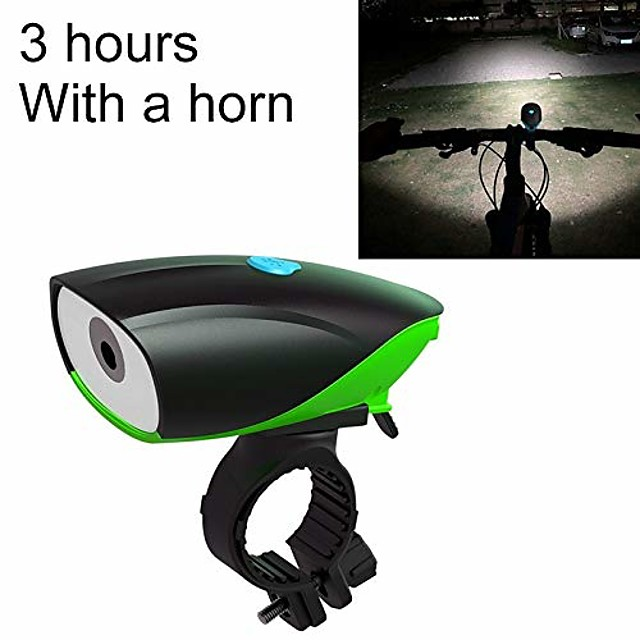 bike waterproof front lights usb charging bike led riding light, charging 3 hours with horn (color: green)