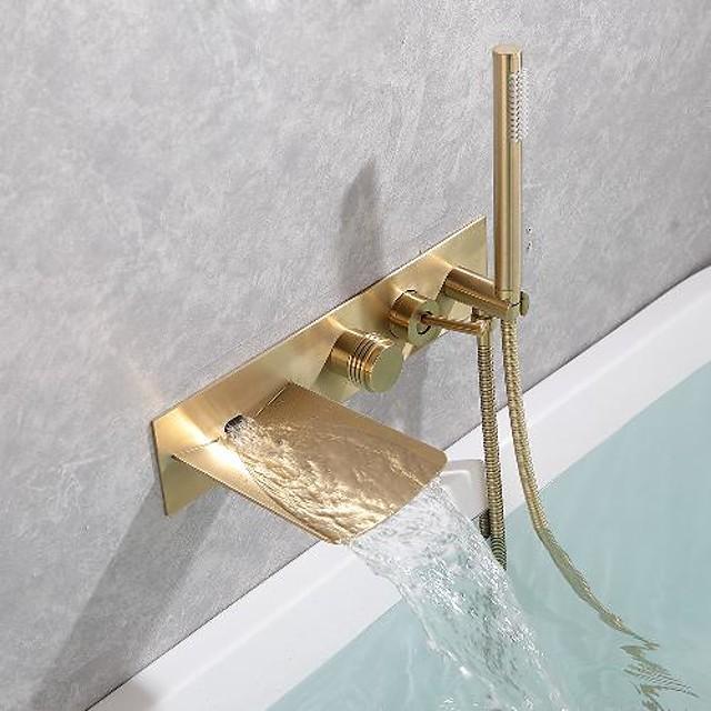 ก๊อกอ่างอาบน้ำทองเหลืองติดตั้งผนังน้ำตกขัดทอง / ดำน้ำตกรวมฝักบัวแบบสเปรย์อาบน้ำก๊อกผสมน้ำร้อนและน้ำเย็น