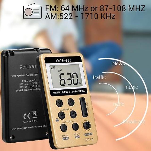V-112 FM Portable Radio Sound adjustable World Receiver Gold