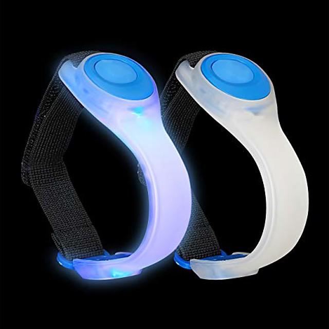 led armband, set of 2, flashing or continuously lit, jogging, running, hiking, safety light, blue