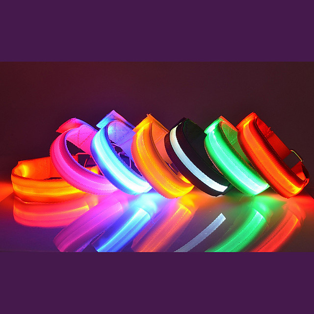 1pc adjustable glowing led sports armband bands bracelet night safety light belt for running cycling or walking (pink)