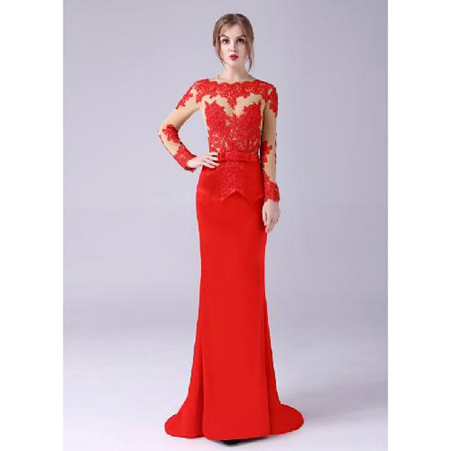 Mermaid / Trumpet Celebrity Style Sexy Engagement Formal Evening Dress Jewel Neck Long Sleeve Floor Length Stretch Satin with Sash / Ribbon Appliques 2021
