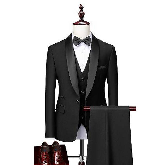 Tuxedos Standard Fit Shawl Collar Single Breasted One-button Polyester Solid Colored