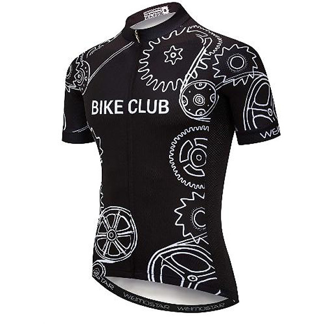 21Grams Men's Short Sleeve Cycling Jersey Black Gear Bike Jersey Mountain Bike MTB Road Bike Cycling Breathable Quick Dry Sports Clothing Apparel / Athletic