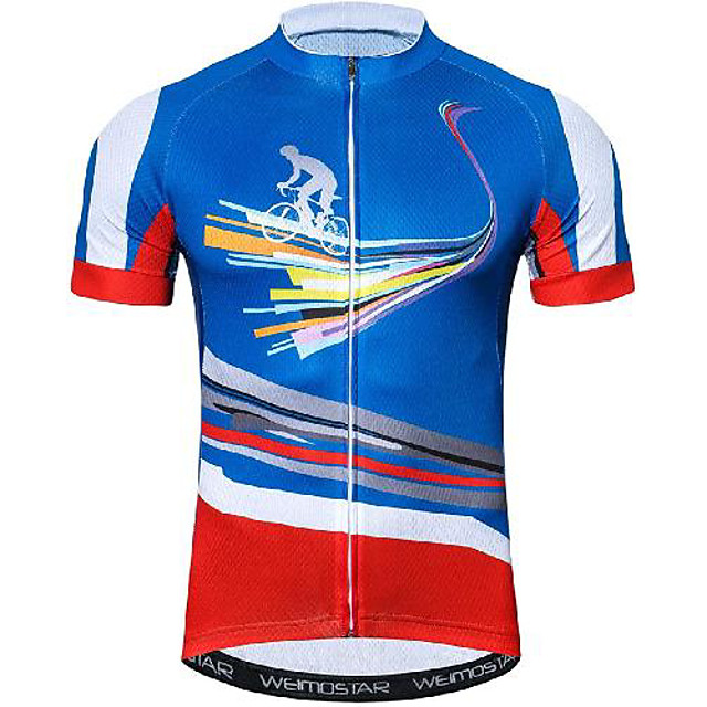 21Grams Men's Short Sleeve Cycling Jersey Blue Bike Jersey Mountain Bike MTB Road Bike Cycling Breathable Quick Dry Sports Clothing Apparel / Athletic