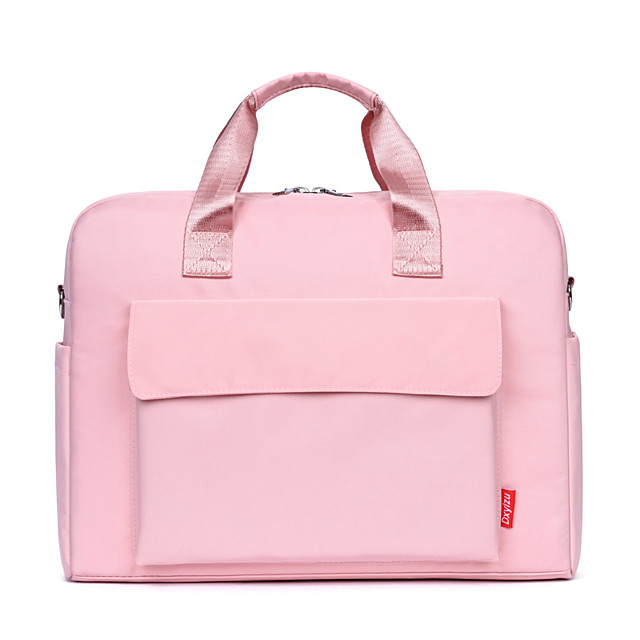 Unisex Nylon Laptop Bag Zipper Solid Color Daily Office & Career Handbags White Black Pink