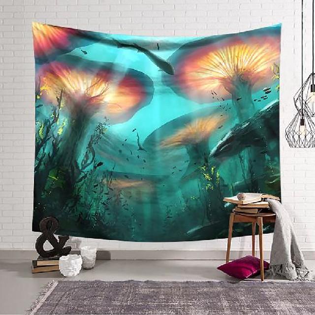 wall tapestry art decor blanket curtain hanging home bedroom living room decoration underwater mushroom chlorella polyester