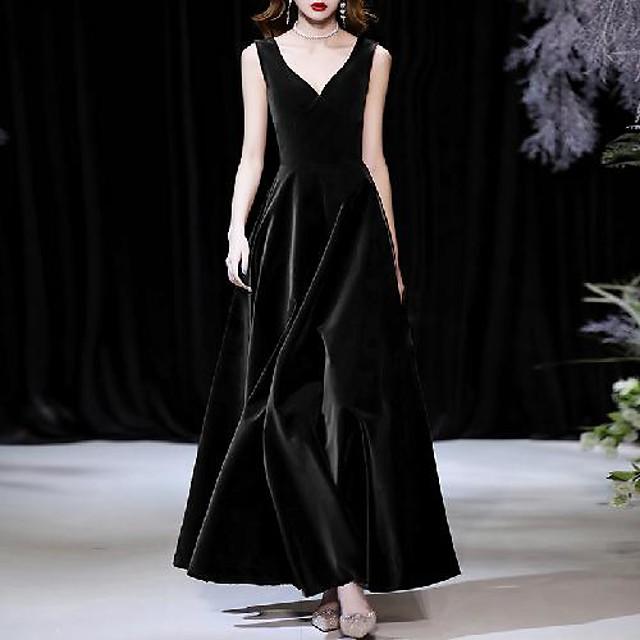 A-Line Minimalist Elegant Wedding Guest Formal Evening Dress V Neck Sleeveless Ankle Length Velvet with Sleek 2021