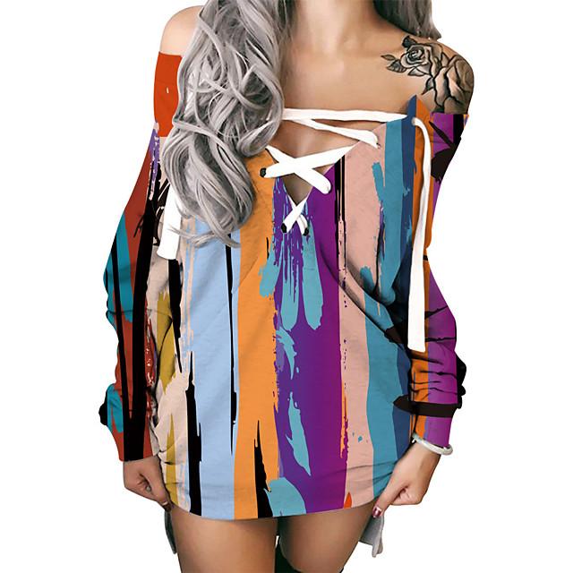 Women's Shift Dress Short Mini Dress Long Sleeve Print Lace up Patchwork Print Fall Winter Plus Size Sexy 2021 Rainbow S M L XL XXL 3XL