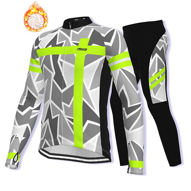 21Grams Men's Long Sleeve Cycling Jacket with Pants Winter Fleece Spandex Grey Bike Fleece Lining Warm Sports Graphic Mountain Bike MTB Road Bike Cycling Clothing Apparel / Stretchy / Athleisure