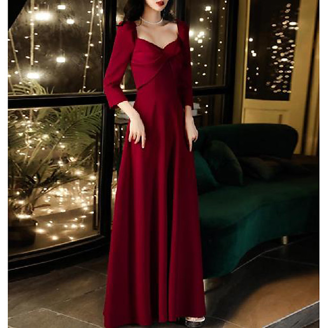 A-Line Minimalist Elegant Engagement Formal Evening Dress Scoop Neck 3/4 Length Sleeve Floor Length Satin with Bow(s) 2020