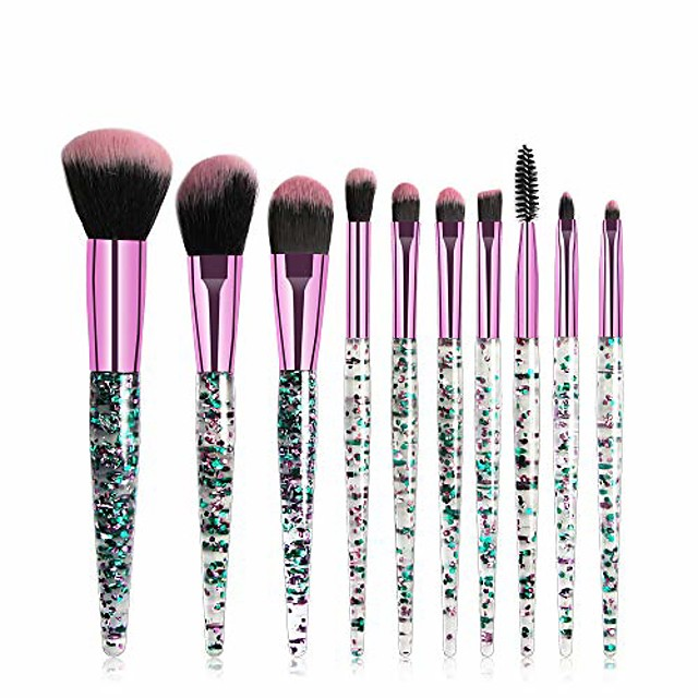 10pcs fashion bling diamond travel cosmetic makeup brushes set for face eye lip (green)