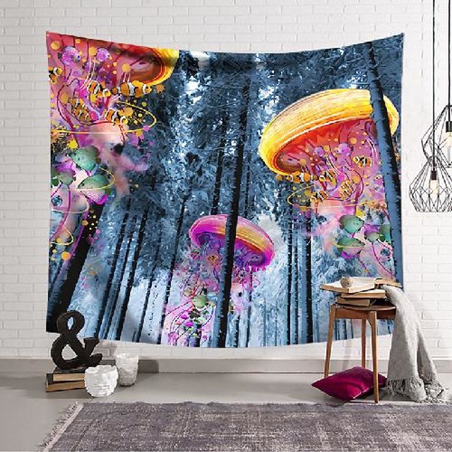 wall tapestry art decor blanket curtain hanging home bedroom living room decoration colorful jellyfish forest polyester