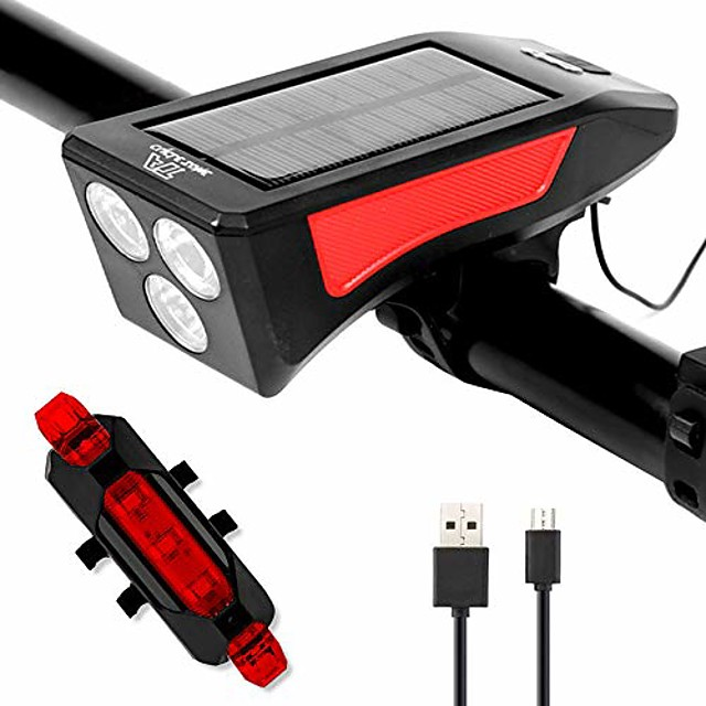 bike light set, led bike light set, supports solar energy and usb charging, 3 modes, bike lights with bell taillight for cycling, ipx4 waterproof