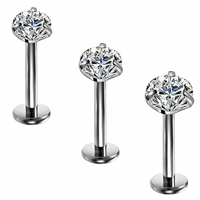 titanium clear cz labret lip ring studs cartilage helix tragus earring nose studs piercing jewelry 2mm 3mm 4mm