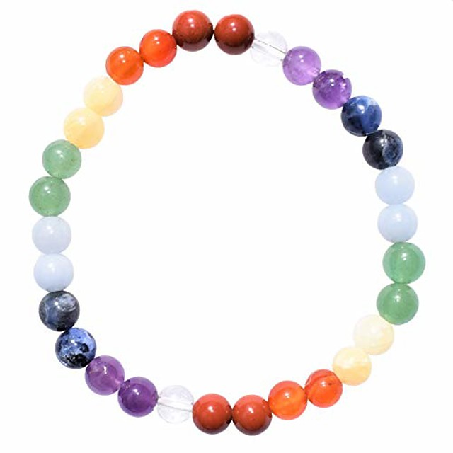 charged natural 7 chakra (amethyst, sodalite, blue, green, yellow aventurine, carnelian agate, red jasper - clear quartz spacers)crystal 6mm bead bracelet + selenite charging heart [included]
