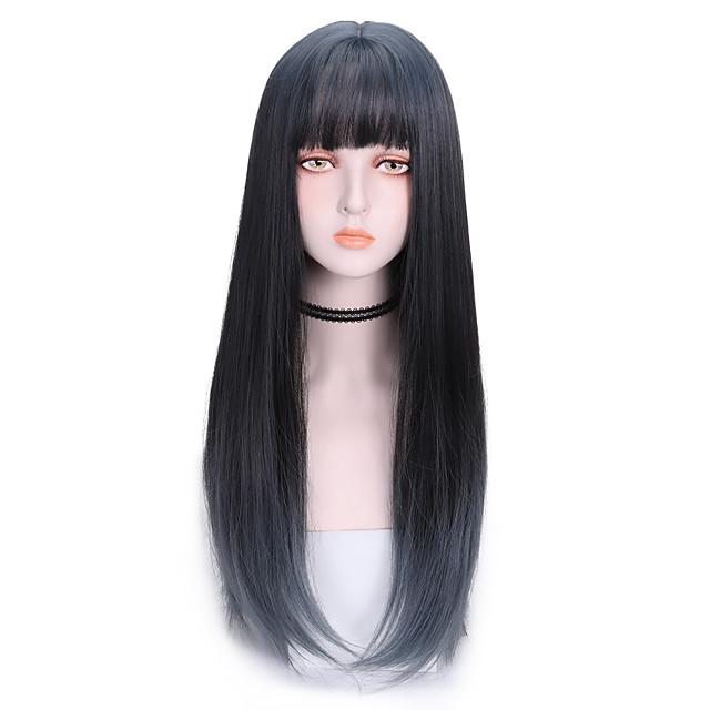 Synthetic Wig Straight With Bangs Wig Long Brown Synthetic Hair 22 inch Women's Fashionable Design Soft Color Gradient Blue