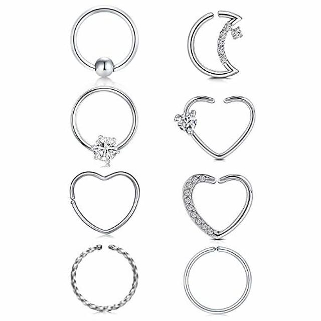 16g 20g daith tragus earrings hoop surgical steel helix cartilage hoop earring heart moon cz small hoop earring fake nose rings septum piercing jewelry silver