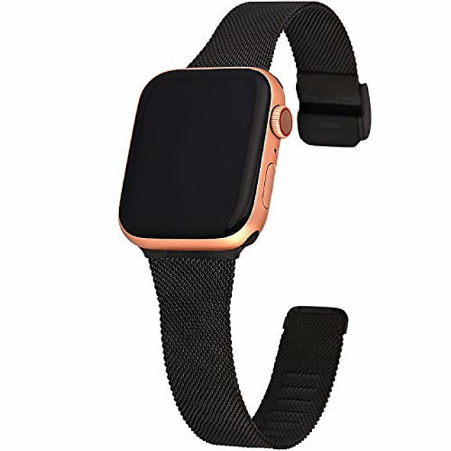 compatible with iwatch 38mm 40mm 42mm 44mm, narrow small soft thin replacement compatible for iwatch series 5/4/3/2/1 women men black