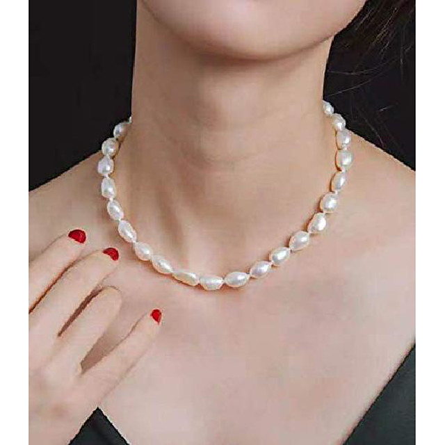 9-10 mm white freshwater cultured baroque pearl necklace 18