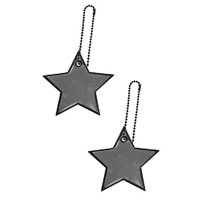safety reflectors pendants - star - ultra bright and stylish reflective gear for school bag/backpack/bag - reflective fluorescent (black-white-blue-pink-4-pack)