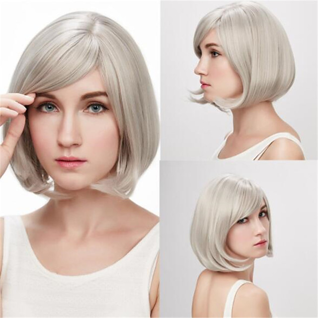 Synthetic Wig Straight Asymmetrical Wig Short Silver Synthetic Hair Women's Classic Cool Silver