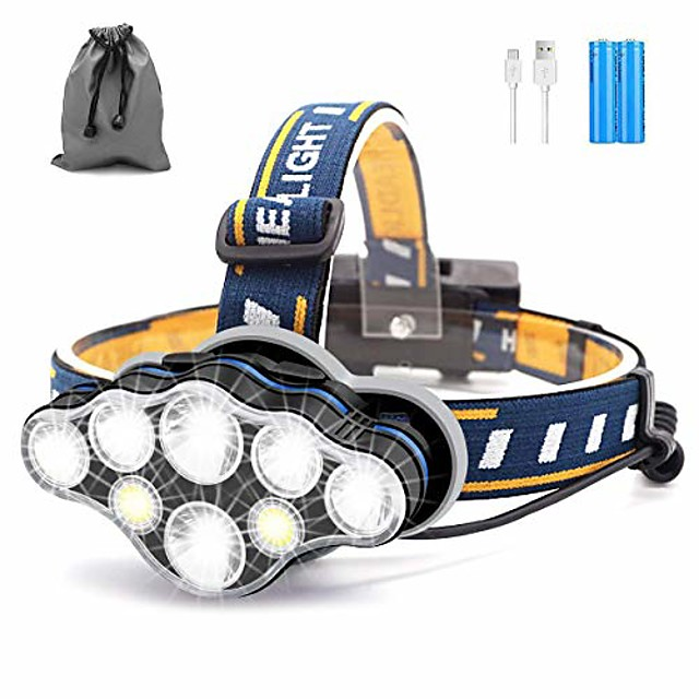head torch, 8 led 18000 lumen headlamp, usb rechargeable super bright waterproof headlight for camping, cycling, climbing, hiking, fishing, night reading, running