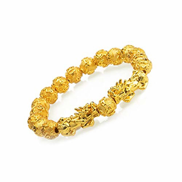 prime feng shui bracelet prosperity bling golden mantra bead bracelet with double pi xiu/pi yao attract wealth and good luck best gift(10mm)