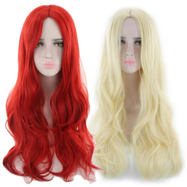 Synthetic Wig Curly Middle Part Wig Long Light golden Red Synthetic Hair Women's Fashionable Design Soft Red Blonde