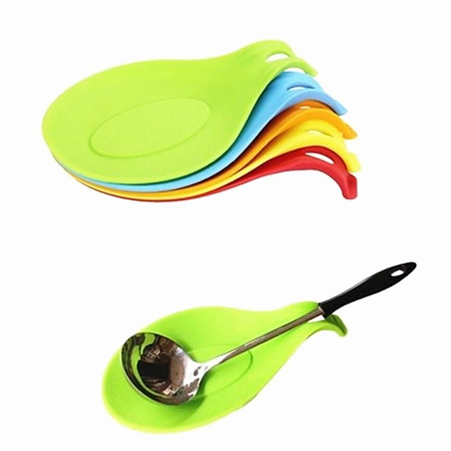 Silicone Spoon Insulation Mat 8pcs Silicone Heat Resistant Placemat Drink Glass Coaster Tray Spoon Pad Kitchen Tool Random Color for Restaurant Home Cook 5pcs 3pcs 1pc