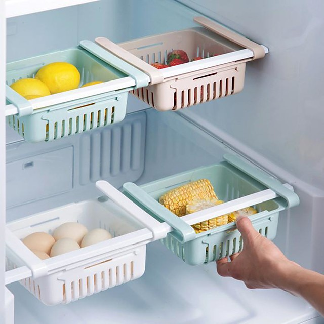 Basket Fridge Organizer Refrigerator Retractable Drawer Telescopie Design Refrigerator Container Box Shelf Holder Food Fruit Oganizer Storage Bin Tray Kitchen