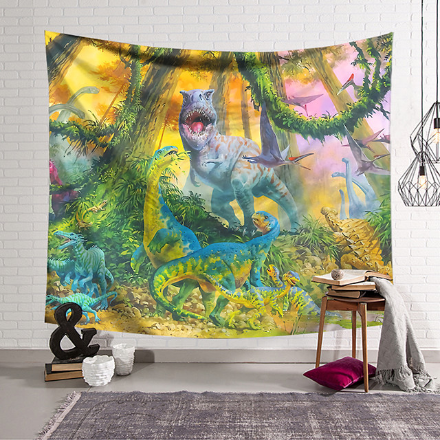 Wall Tapestry Art Decor Blanket Curtain Hanging Home Bedroom Living Room Decoration Polyester Dinosaur World