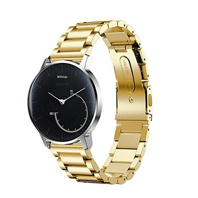 watch accessory band, stainless steel bracelet smart watch band strap for withings activite pop,sporting goods accessories (gold)