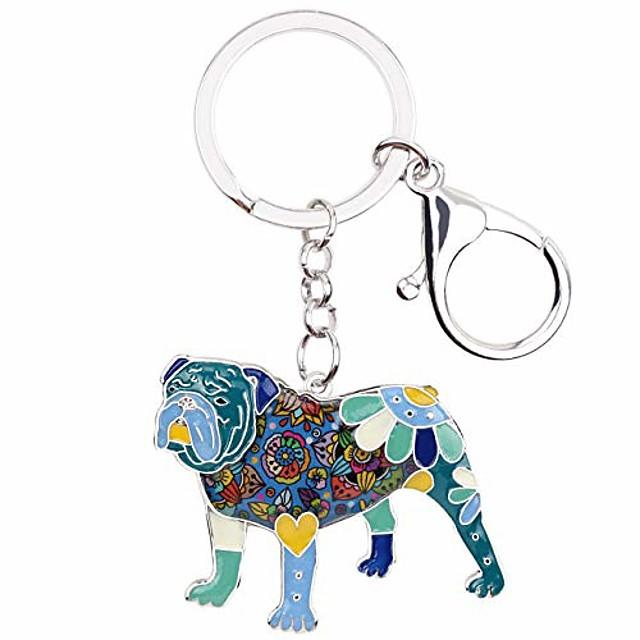 weveni enamel alloy english bulldog bull terrier dog key chain ring new fashion jewelry for women bag charm accessories (blue)