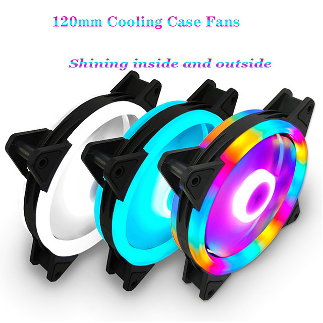 Rgb Cover Fan 120mm 3 Pin Cooling Fans Blue Red White Colors Computer Cooling Fan Radiator Fan