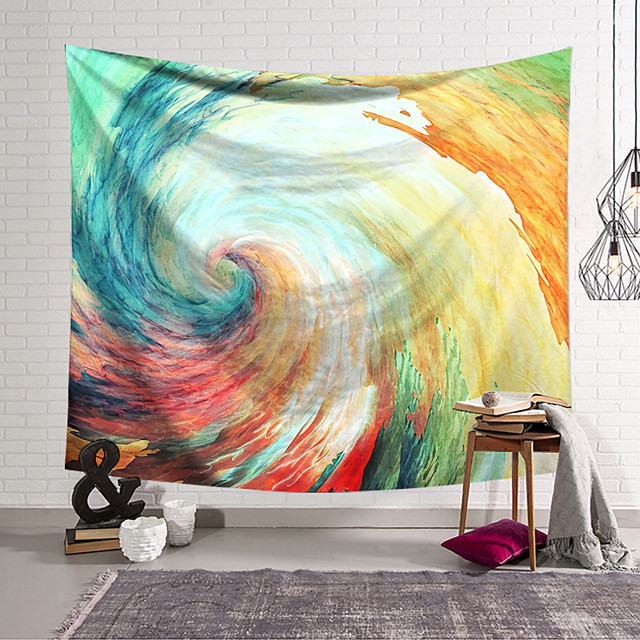 Wall Tapestry Art Decor Blanket Curtain Hanging Home Bedroom Living Room Decoration Polyester Fiber Painted Spiral Wave Orchid Pavilion Design