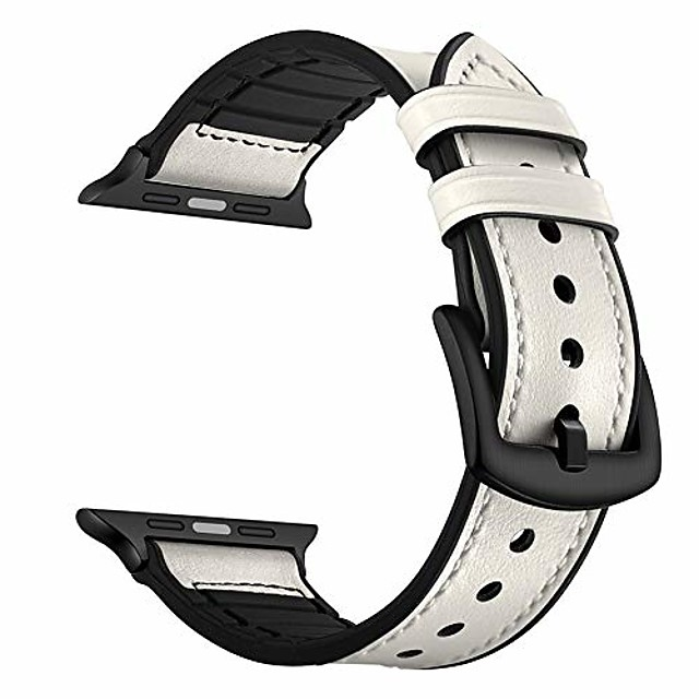 nnhf compatible with apple watch band series 44mm 42mm 40mm 38mm, camouflage leather silicone strap compatible with iwatch series 4 3 2 1 (white, 40mm)