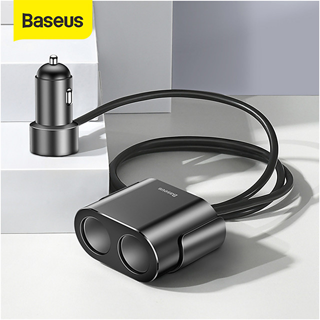 Baseus Power Socket Adapter Splitter 5V 3.1A 100W Dual USB Car Charger Adapter for Phone Car-Charger Auto Fast Charging