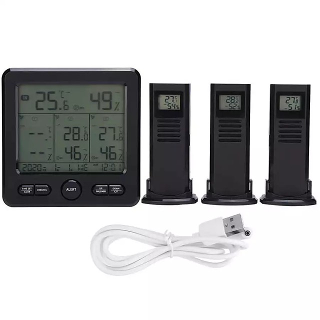 Wireless indoor outdoor thermometer for weather station TS-6210 digital weather thermometer with clock calendar and humidity