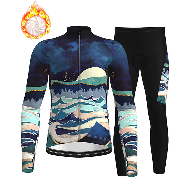 21Grams Men's Long Sleeve Cycling Jersey with Tights Winter Fleece Polyester Dark Navy Bike Clothing Suit Thermal Warm Fleece Lining Breathable 3D Pad Warm Sports Graphic Mountain Bike MTB Road Bike