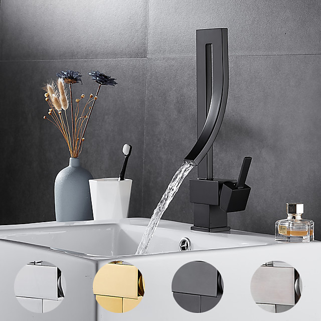 Single Handle One Hole Irregular Creative Design Bathroom Faucet, Brushed Nickel/Chrome/Mattle Black/Golden Waterfall Rotatable Bathroom Sink Faucet with Hot and Cold Water