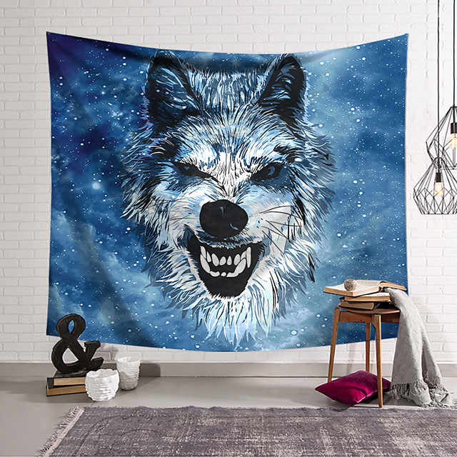 Wall Tapestry Art Deco Blanket Curtain Hanging Home Bedroom Living Room Dormitory Decoration Polyester Fiber Animal Painted Blue Wolf