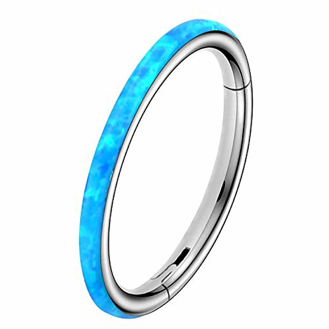 synthetic white/pink/blue opal hinged segment hoop 316l stainless steel cartilage helix lobe earrings tragus conch piercing jewelry