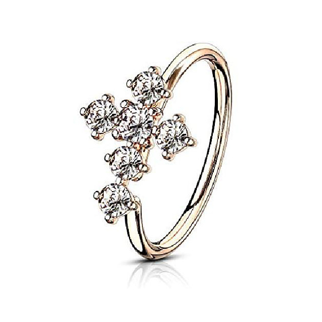 20g 8mm rose gold ip plated brass bendable nose ring & cartilage hoop featuring cz lined cross top