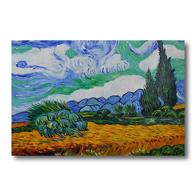 100% Hand Painted Oil Paintings on Canvas Modern Stretched and Framed Grace Abstract Van Gogh Artwork Ready to Hang