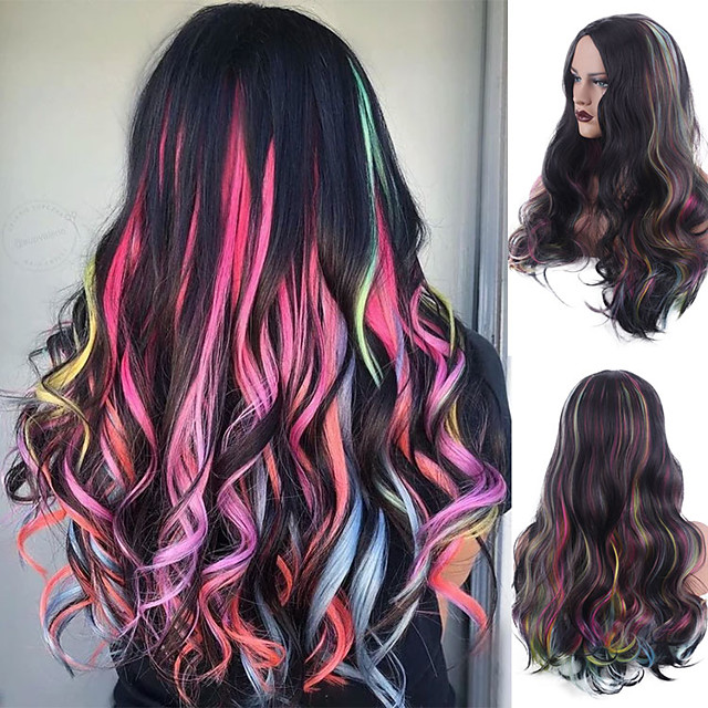Synthetic Wig Body Wave Bouncy Curl Middle Part Wig Long Rainbow Synthetic Hair Women's Soft Highlighted / Balayage Hair Fluffy Mixed Color